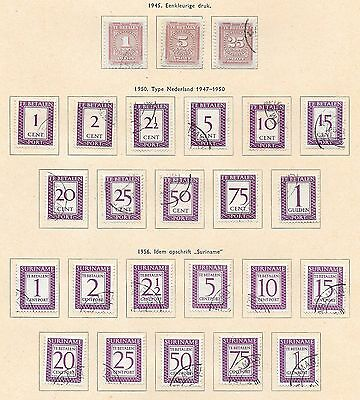 Surinam stamps 1945 Collection of 25 DUE stamps  CAT VALUE $195