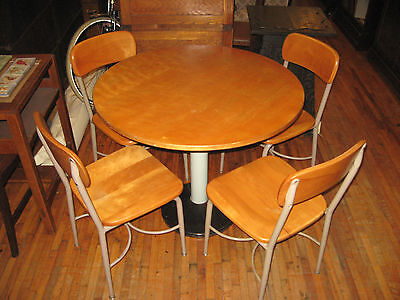 "Mid Century Heywood Wakefield Maple 36"" Kitchen Dining Table 4 Chairs School Set"