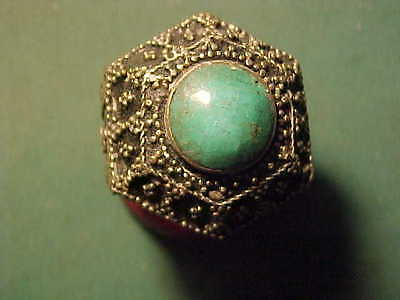 Near Eastern hand crafted  ring turquoise stone 1700-1900