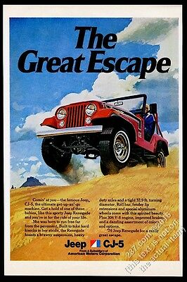 1974 Jeep Renegade CJ5 red SUV pic vintage print ad