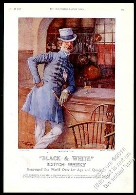 1928 Black & White Scotch Whisky Charles Dickens Martin Chuzzlewit Montague ad