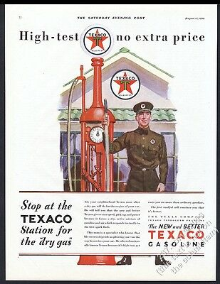 1929 Texaco gas station pump worker color art vintage print ad