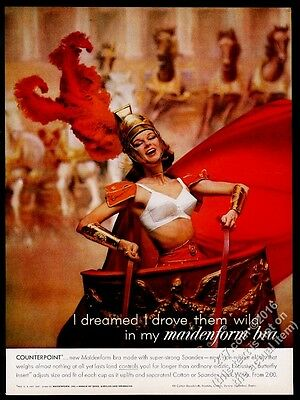 1961 Maidenform Bra woman in chariot photo vintage print ad