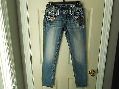 New MISS ME Distressed Patchwork Signature Skinny Jeans SIZE 25