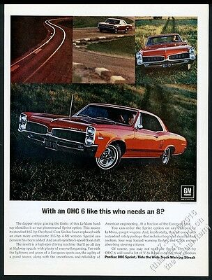 1967 Pontiac LeMans Sprint red car color photo vintage print ad