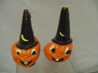 """Halloween Candles Gurley Price 39 Cents Jack-O-Lantern Witch Hat 3"""" Tall Vintage"""
