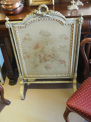 Gorgeous Antique Victorian Hand Carved Tapestry Firescreen