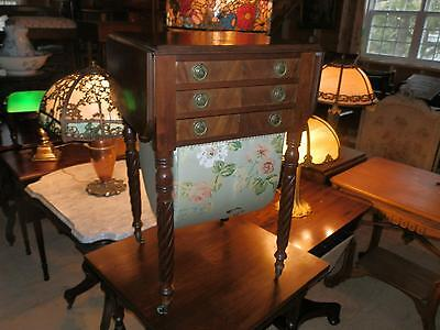 Rare Antique Victorian Drop Leaf Work  Table With Sewing Bin