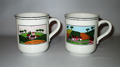 Villeroy & Boch Naif Mugs 2 Farm House Fields Rooster Laplau Germany Porcelain