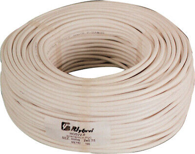 100 mt of electrical cable bipolar section 2x1,5 mm rubber flexible white