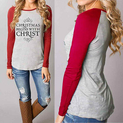 USPS Women Christmas Casual T-Shirts Cotton Long Sleeve Tops Blouse XL