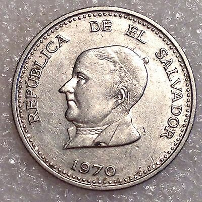 El Salvador 25 Centavos 1970 Nickel  #2222