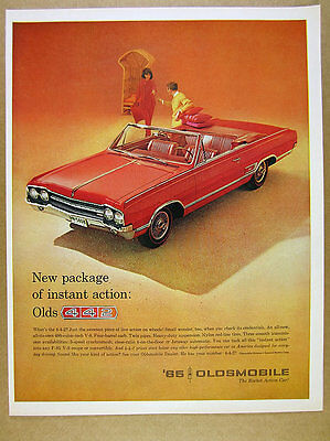 1965 Oldsmobile 4-4-2 442 Convertible red car color photo vintage print Ad