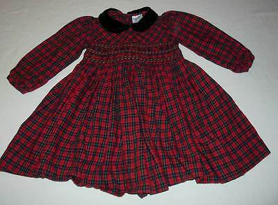 Vintage Girls Friedknit Red Green Plaid Smocked Dress Size 2T