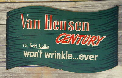 Vintage Van Heusen Store Display Sign Ad Advertisement Shirts Two Sided Red Grn
