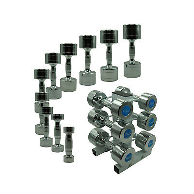 24kg - 54kg Chrome Dumbell Set - 3 Pairs With Free Rack Commercial Gym Grade