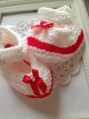 Mary Jane Handknitted Shoes White With Red And Red Bow On Front With Beads
