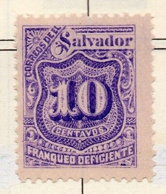 El Salvador 1898 Postage due  Issue Fine Mint Hinged 10c. 141223