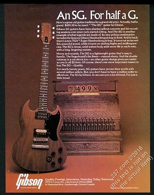 1978 Gibson SG guitar color photo vintage print ad