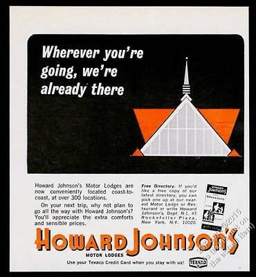 1967 Howard Johnson's Motor Lodge classic A-frame motel art vintage print ad