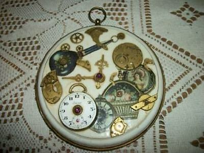Chic Steampunk Antique Pocket Watch Art Decoupage Plaque Shabby Victorian Scraps