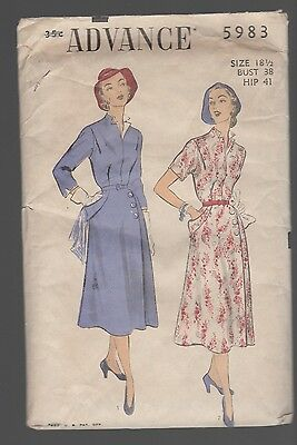 Vintage 1940's Advance sewing pattern 5983 -STYLISH Dress with SIDE BUTTON SKIRT
