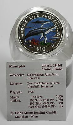 10$ Namibia Marine Life Protection Buckelwale Silber Color proof