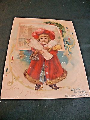 Large Christmas Greeting Trade Card From Woolson Spice Co Adv Lion Coffee