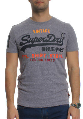 785f6a92aa8 Superdry T-SHIRT homme CHEMISE MAGASIN Bleu Neige