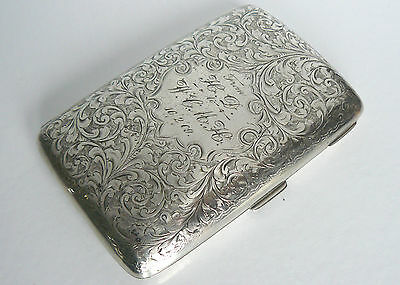 SILVER STERLING 1902 JOSEPH GLOSTER 18ct GOLD LINED B'HAM HM 178g CIGARETTE CASE