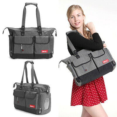 New love is Baby Changing Bag Large Nappy Bag Diaper Tote 5PCS Grey