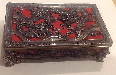 Occupied Japan Jewelry Box Silverplate Vintage Filigree Dragon Lion Ornate  Nice