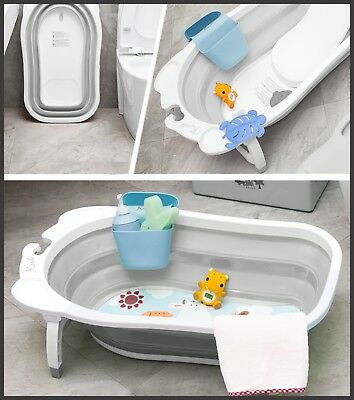 New Karibu Baby Folding Bath Infant to Toddler Anti Slip Bathtub Blue