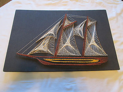 "Vtg Mid Century Sailboat String Art 70s LARGE 25""X 16"" 3 LAYERS OF STRING"