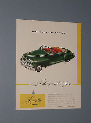 1946 Lincoln Convertible Ad