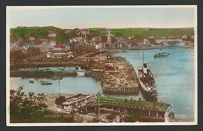 Rothesay Argyll & Bute West (& Pier) c1930s Valentine Real Photo Postcard