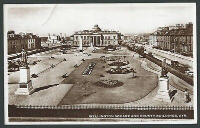 Ayr Wellington Square & County Buildings 1947 M&L Real Photo Postcard