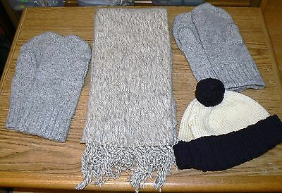 Lot of 4 NWOT Unisex Wool / Wool Blend WInter Hat Scarf & 2 Pairs Wigwam Mittens