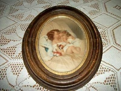 Antique Victorian Chic Chippy Wood Gilt Oval Children Picture Shabby Oldie