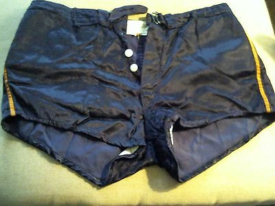Vintage Satin Deep Blue / Purple Basketball Shorts Button Fly Padded Size 32