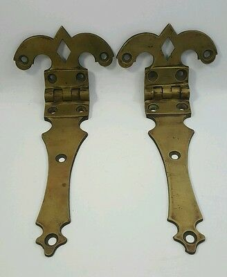 Pair of ANTIQUE Solid Brass DOOR HINGES Decorative Fleur-de-Lis Large and Used