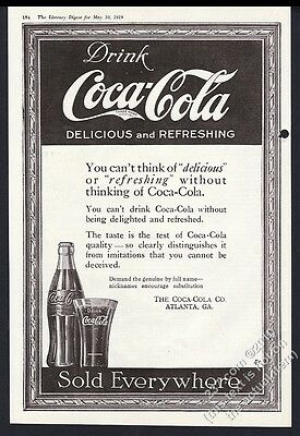 1919 Coca-Cola Coke bottle and glass illustrated vintage print ad