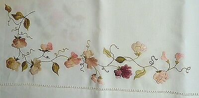 "Antique 44"" Tablecloth White Linen Sweet Pea Embroidery Pink,Green Edwardian"