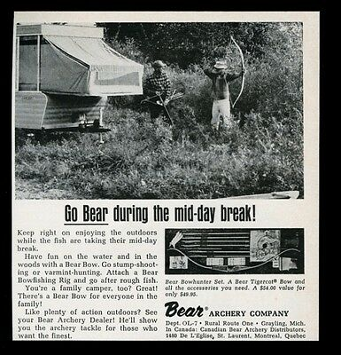 1965 Fred Bear archery bowhunting Tigercat bow hunting photo vintage print ad