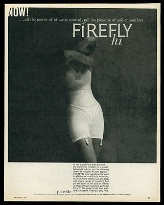 1957 Poirette Firefly lingerie woman long girdle photo vintage fashion print ad