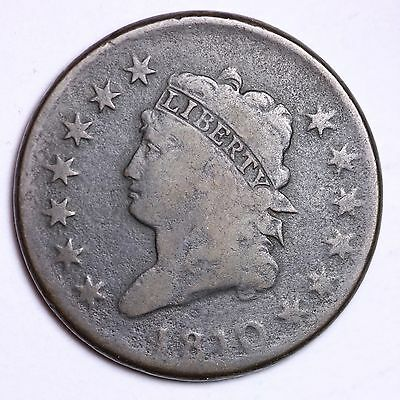 1810 Classic Head Large Cent Penny CHOICE VG+/FINE FREE SHIPPING E105 CCT