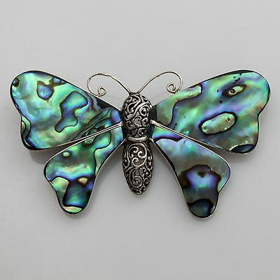 Large Antique Vintage Silver Abalone Mother Pearl Shell Butterfly Brooch