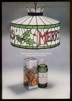 1969 Tanqueray Special Dry Gin bottle & Christmas lamp photo vintage print ad