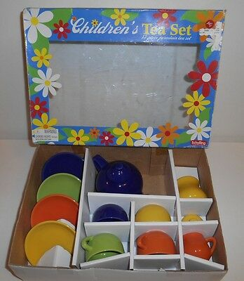Fiesta Ware Style by Schylling made of Porcelain 13pc Childrens Tea Set NOS 2008