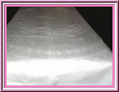 Beautiful Antique Irish Linen Damask Tablecloth With Monogram & Lovely Design